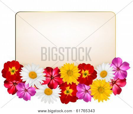 Holiday Background With A Paper Greeting Card And Flowers. Vector Illustration