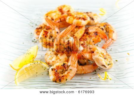 tasty grilled prawn salad with lemon and parsley poster