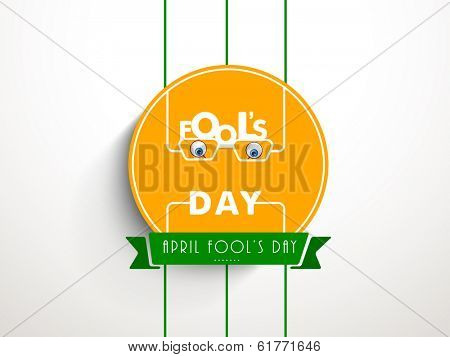 April Fools Day funky sticker, tag or label with stylish text on yellow background.