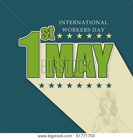 Vintage poster, banner or flyer design with green stylish text 1st May on blue background, concept for labours day.  poster
