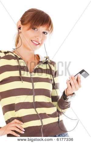 Smiling Teenager With Cell Phone