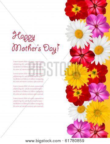 Mother's Day Concept. Holiday background with colorful flowers. Vector