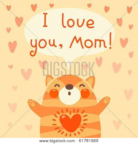 poster of Greeting card for mom with cute kitten. Vector illustration.