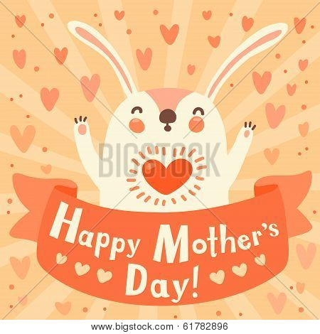 poster of Greeting card for mom with cute rabbit. Vector illustration.