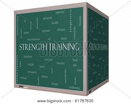 Strength Training Word Cloud Concept On A 3D Cube Blackboard