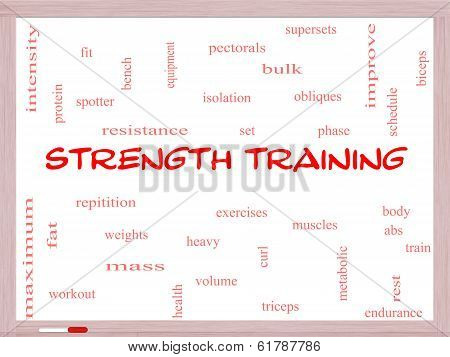 Strength Training Word Cloud Concept on a Whiteboard with great terms such as body muscles weights and more. poster