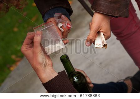 Cocaine dealing banknotes and a bottle of wine poster
