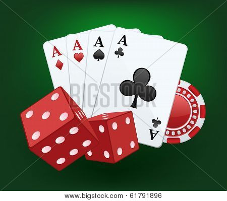 Casino illustration with dices, cards and chips
