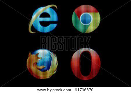 Common Internet Browsers Icons On Monitor