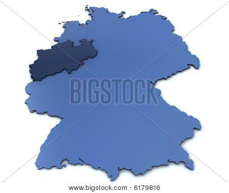 This is a large rendering of a german map focused on North Rhine Westphalia poster