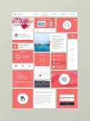 Flat ui kit for responsive web design in red. Adaptive web elements for 960 grid poster