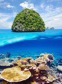 Beautiful uninhabited island in Thailand with coral reef bottom underwater and above water split view poster