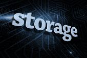 The word storage against futuristic black and blue background poster