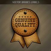vector leather genuine label illustration poster