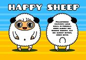 Kawaii style card with sheep characters couple poster