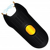 Stun gun for protection in the crime situation. Vector clip art. poster
