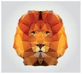 Geometric polygon lion head, triangle pattern, vector illustration poster