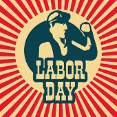 Poster, banner or flyer design with illustration of a man and stylish text Labor Day on vintage background.  poster