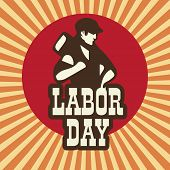 Happy Labor Day background with young worker holding a hammer on vintage background.  poster