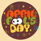 April Fools Day funky concept with stylish funky text on colorful abstract background.  poster