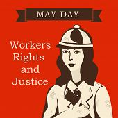 Poster, banner or flyer design with illustration of a lady worker standing for workers rights and justice on red background.  poster