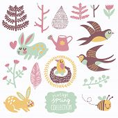 Vintage spring collection. Concept natural set with birds and animals. Swallows, rabbits, leafs, flowers, bee, watering pot, hearts in gentle pastel colors in vector poster