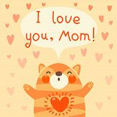 Greeting card for mom with cute kitten. Vector illustration. poster