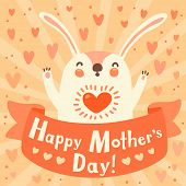 Greeting card for mom with cute rabbit. Vector illustration. poster
