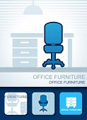 Vector image furniture background, symbol and cards poster