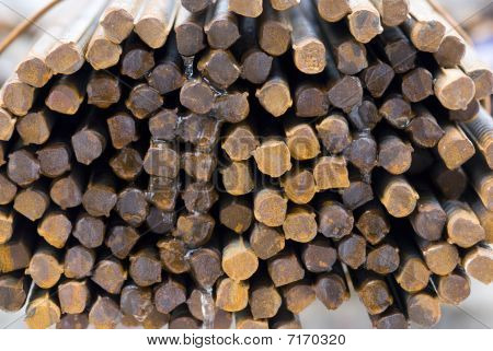 Cross-sectional Close-up Of Rusty High Tensile Deformed Steel Bar