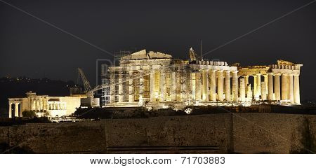Acropolis Of Athens By Night. Parthenon. Greece