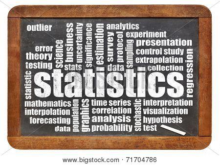 statistics word cloud on a vintage slate blackboard isolated on white