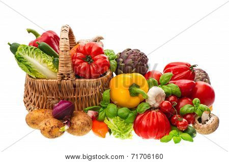 Fresh Vegetables. Shopping Basket. Healthy Nutrition
