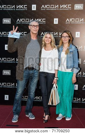 MOSCOW, RUSSIA, May, 13: Actor Igor Zhizhikin with friends. Premiere of the movie
