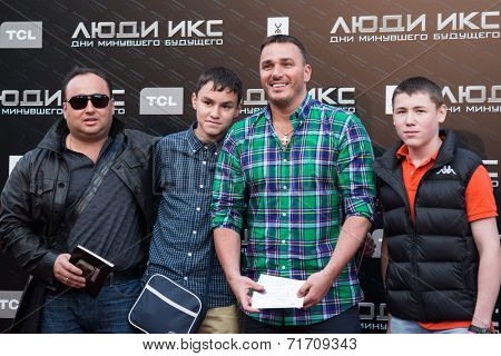 MOSCOW, RUSSIA, May, 13: Singer Kirill Andreev with family. Premiere of the movie