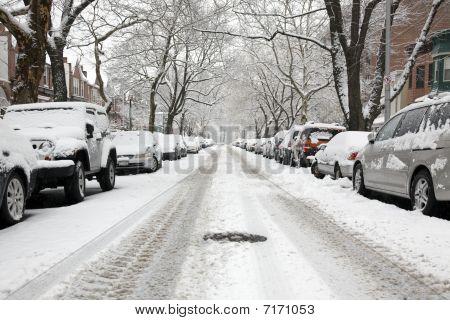 Urban Street On A Snow Day