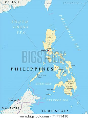 poster of Philippines Political Map with capital Manila, national borders, most important cities, rivers and lakes. English labeling and scaling. Illustration.