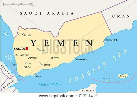 Yemen Political Map with capital Sanaa, national borders and most important cities. English labeling and scaling. Illustration. poster