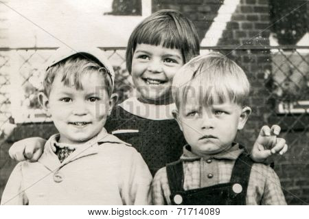 ILOWA, POLAND, CIRCA 1962 - Vintage photo of children