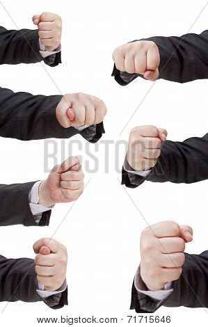 Set Of Hand Gesture With Clenched Fingers