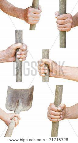 Set Of Worker Hand Holds Old Shovel