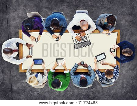 Diverse People Using Digital Devices Photos and Illustration