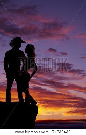 Silhouette Couple Arm Around Cowboy