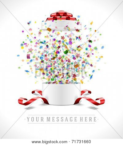 Open gift box and with red bow and ribbon vector illustration. Fireworks sparkles and confetti.