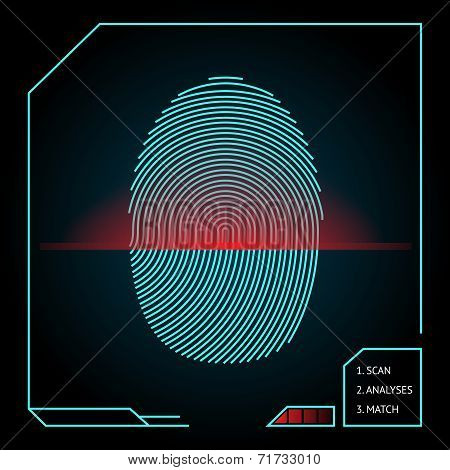 Fingerprint scanning and identification showing a blue whorled print with a red scanner beam on an electronic device for access and security  vector illustration poster