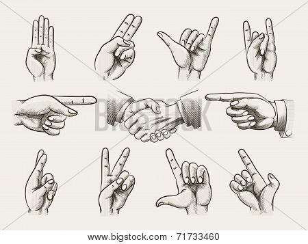 Set of vintage style hand gestures