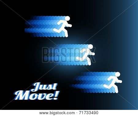 Neon silhouettes of three people running fast