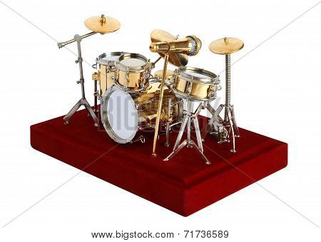 Miniature Drumkit On A White Background
