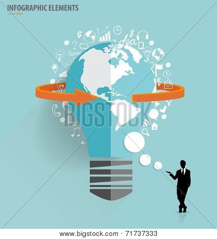 Businessman showing light bulb with cloud of application. Vector illustration.