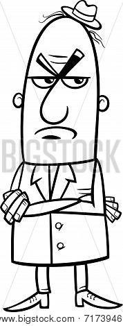 Angry Man Cartoon Coloring Page